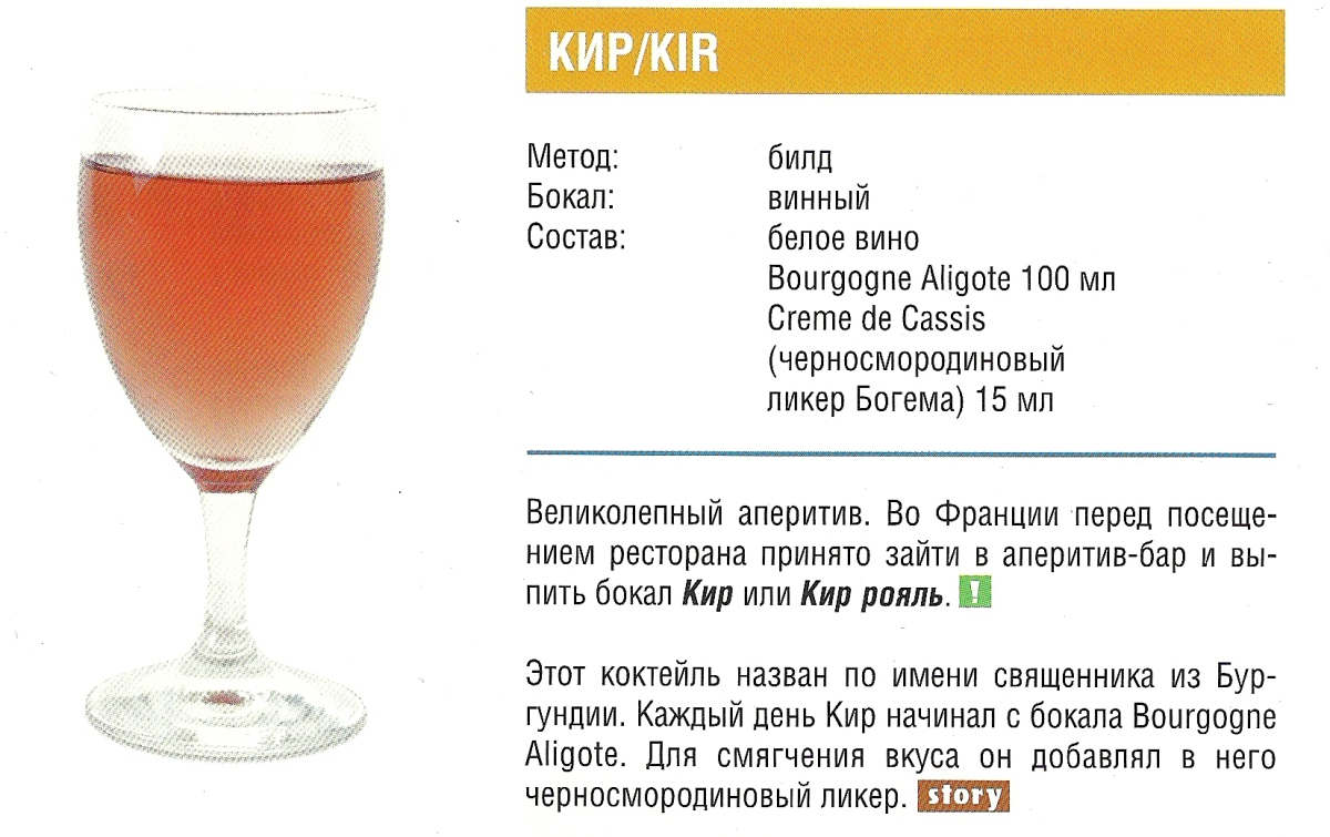 Рецепты коктейлей кир